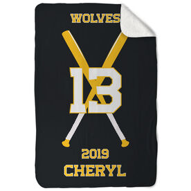 Softball Sherpa Fleece Blanket - Personalized Team with Crossed Bats