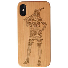 Softball Engraved Wood IPhone® Case - Words