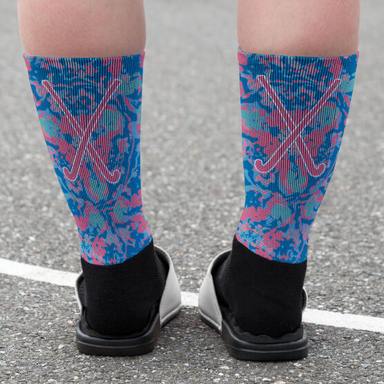 Field Hockey Printed Mid-Calf Socks - Floral Crossed Sticks