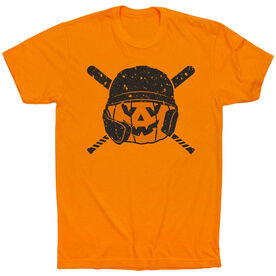 Baseball Short Sleeve T-Shirt - Helmet Pumpkin