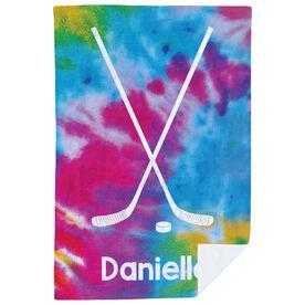 Hockey Premium Blanket - Personalized Tie-Dye Pattern With Sticks