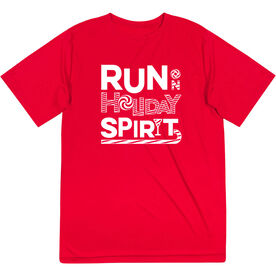 Men's Running Short Sleeve Performance Tee -  Run On Holiday Spirit