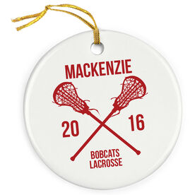 Girls Lacrosse Porcelain Ornament Personalized Player