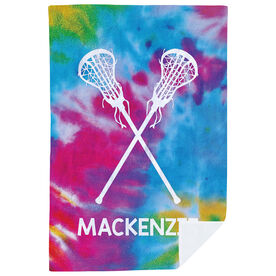 Girls Lacrosse Premium Blanket - Personalized Tie Dye Pattern with Sticks
