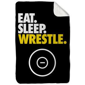 Wrestling Sherpa Fleece Blanket - Eat. Sleep. Wrestle. Vertical