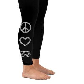 Snowboarding Leggings Peace Love Snowboard