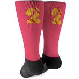 Softball Printed Mid-Calf Socks - Turn 2