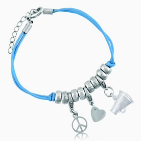Peace. Love. Cheer Silver Charm Bracelet - Megaphone