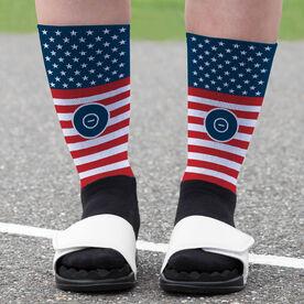 Wrestling Printed Mid-Calf Socks - USA Stars and Stripes