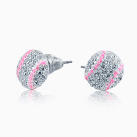 Softball Rhinestone Earrings - Super Sparkle Pink