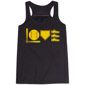 Softball Flowy Racerback Tank Top - Love To Play