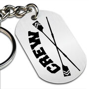 Crew Crossed Oars Printed Dog Tag Keychain