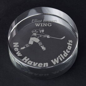 Hockey Personalized Engraved Crystal Puck - Player Silhouette with Custom Text (Player)