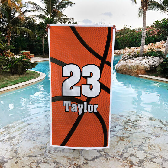 Basketball Premium Beach Towel - Personalized Big Number