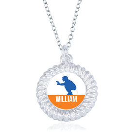 Baseball Braided Circle Necklace - Catcher Silhouette With Name