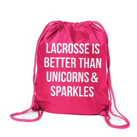 Girls Lacrosse Sport Pack Cinch Sack - Lacrosse is better than Unicorns