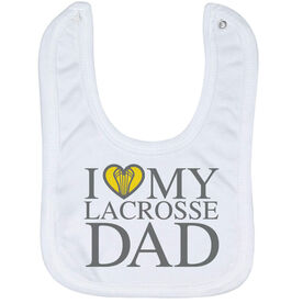 Girls Lacrosse Baby Bib - I Love My Lacrosse Dad