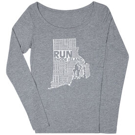 Women's Scoop Neck Long Sleeve Runners Tee Rhode Island State Runner