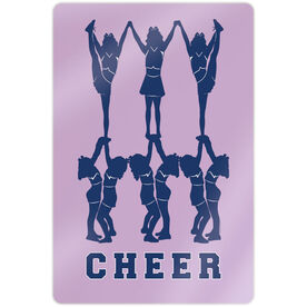 "Cheerleading 18"" X 12"" Aluminum Room Sign - Cheer Pyramid"