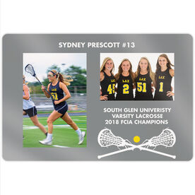 """Girls Lacrosse 18"""" X 12"""" Aluminum Room Sign - Player and Team Photo"""