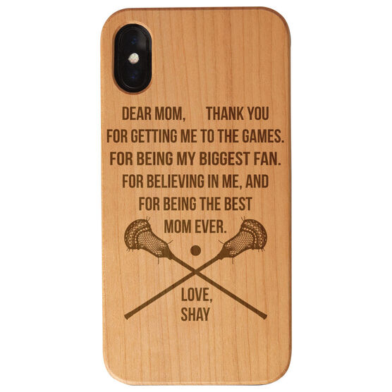 Guys Lacrosse Engraved Wood IPhone® Case - Dear Mom Thank You Heart