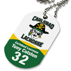 Lacrosse Printed Dog Tag Necklace Custom Team Color Logo