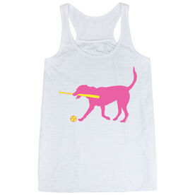 Softball Flowy Racerback Tank Top - Mitts the Softball Dog