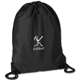 Softball Sport Pack Cinch Sack Softball Girl White Stick Figure with Word