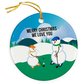 Golf Porcelain Ornament Swing Snowmen Dad