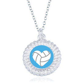 Volleyball Braided Circle Necklace - Ball Heart