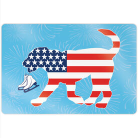 "Figure Skating 18"" X 12"" Aluminum Room Sign - Patriotic Axel The Figure Skating Dog"