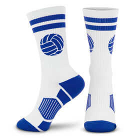 Volleyball Woven Mid-Calf Socks - Ball (White/Royal)