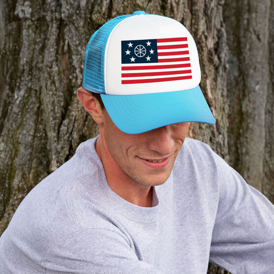 Basketball Trucker Hat - American Flag