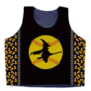 Softball Racerback Pinnie - Witch Riding Softball Bat