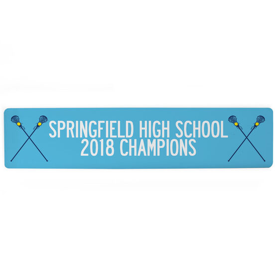 "Girls Lacrosse Aluminum Room Sign - Team Your Text With Crossed Sticks (4""x18"")"