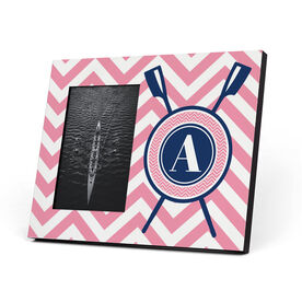 Crew Photo Frame - Single Letter Monogram with Crossed Oars and Chevron