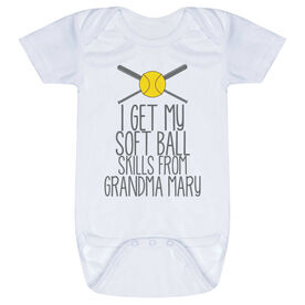 Softball Baby One-Piece - I Get My Skills From My