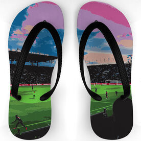 Soccer Flip Flops View From the Stadium