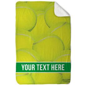 Tennis Sherpa Fleece Blanket - Personalized Ball Background