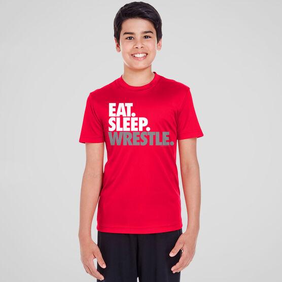 Wrestling Short Sleeve Performance Tee - Eat. Sleep. Wrestle.