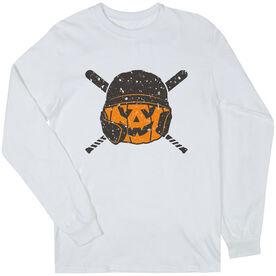 Baseball Long Sleeve T-Shirt - Helmet Pumpkin