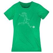 Soccer Women's Everyday Tee - Soccer Girl Player Sketch