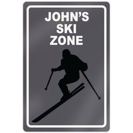 "Skiing 18"" X 12"" Aluminum Room Sign Personalized Ski Zone Guy"