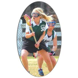 Girls Lacrosse Oval Car Magnet Your Photo