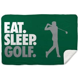 Golf Sherpa Fleece Blanket - Eat. Sleep. Golf. Horizontal