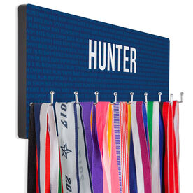 Triathlon Hooked on Medals Hanger - Custom Swim Bike Run Repeat