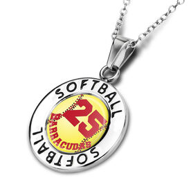 Softball Circle Necklace Stitched Softball Graphic Your Number