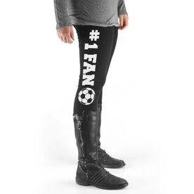 Soccer High Print Leggings #1 Fan with Soccer Ball