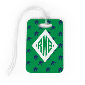 Hockey Bag/Luggage Tag - Personalized Hockey Pattern Monogram