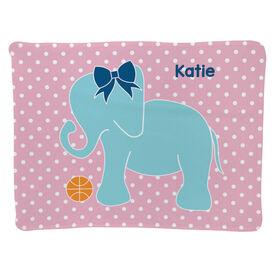 Basketball Baby Blanket - Basketball Elephant With Bow